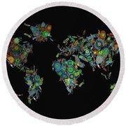 World Map Mandala Feathers 2 Round Beach Towel