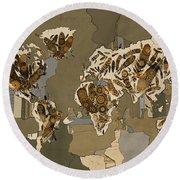 World Map Mandala Feathers 4 Round Beach Towel