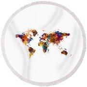World Map Round Beach Towel