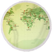 World Map Miller Cities Straight Pin Vintage Round Beach Towel