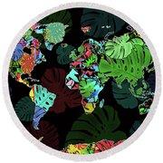 World Map Monstera Leaves  8 Round Beach Towel