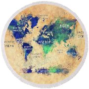 World Map Oceans And Continents Art Round Beach Towel