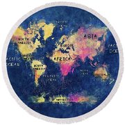 World Map Oceans And Continents Round Beach Towel