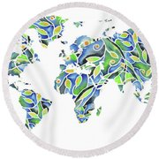 World Map Organic Green And Blue Round Beach Towel