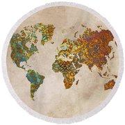 World Map Oriental Round Beach Towel