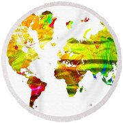 World Map Painted Round Beach Towel