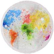 World Map Painting Round Beach Towel