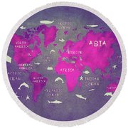 World Map Pink Round Beach Towel