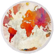World Map - Rainbow Passion - Abstract - Digital Painting 2 Round Beach Towel