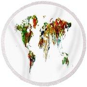 World Map Running Paint 01 Round Beach Towel