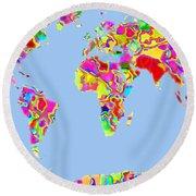 World Map Viscous Round Beach Towel