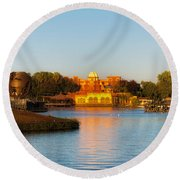 World Showcase Lagoon Before The Show Walt Disney World Round Beach Towel