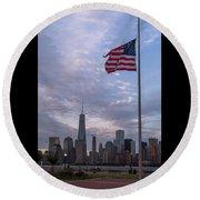 World Trade Center Freedom Tower New York City American Flag Round Beach Towel