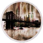 World Trade Center Round Beach Towel