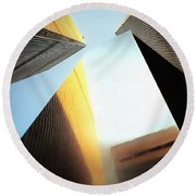 World Trade Center Towers And The Ideogram 1971-2001 Round Beach Towel