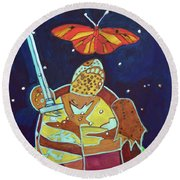 World Turtle King Of Swords Round Beach Towel