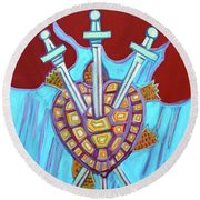 World Turtle Three Of Swords Round Beach Towel