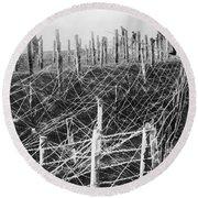 World War I Barbed Wire Round Beach Towel