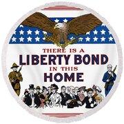 World War I Liberty Bond Ad Round Beach Towel by Granger