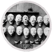 World War I Masks, 1918 - To License For Professional Use Visit Granger.com Round Beach Towel