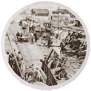 World War I: Plane Repair Round Beach Towel