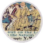 World War I Ywca Poster  Round Beach Towel