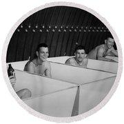 World War II Bath Time For Guys Round Beach Towel