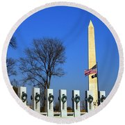 World War II Memorial And Washington Monument Round Beach Towel