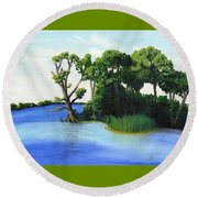 Worlds Away Off The Wye River Round Beach Towel