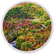 Worlds End State Park Lookout 3 - Paint Round Beach Towel