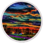 World's Most Psychedelic Autumn Sunsset Round Beach Towel