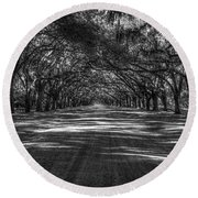 Wormsloe Plantation 2 Live Oak Avenue Art Round Beach Towel