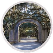 Wormsloe Gates Round Beach Towel