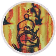 Worn And Weathered Kettles Round Beach Towel