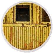 Worn Yellow Passanger Car Round Beach Towel