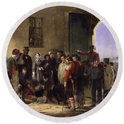 Wounded At Scutari A Portrait By Jerry Barrett Round Beach Towel