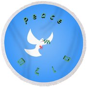 Wounded Dove Symbol Of Peace  Round Beach Towel