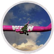 Wow Air Airbus A321-211 Round Beach Towel