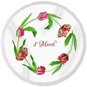 Wreath With Tulips Round Beach Towel