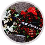 Wreaths From New Zealand And Our Navy Round Beach Towel