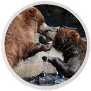 Wrestling Grizzly Bears In A Shallow River Round Beach Towel