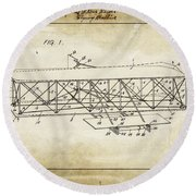 Wright Brothers Flying Machine Patent 1903 Round Beach Towel