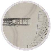 Wright Brothers Memorial Plane Sketch Round Beach Towel