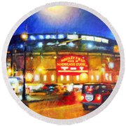 Wrigley Field Home Of Chicago Cubs Round Beach Towel