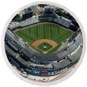 Wrigley Field In Chicago Aerial Photo Round Beach Towel