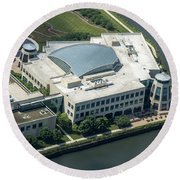 Wrigley Global Innovation Center In Chicago Aerial Photo Round Beach Towel