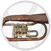 Wrinkled Old Trumpet Round Beach Towel