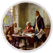 Writing The Declaration Of Independence Round Beach Towel