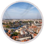 Wroclaw Cityscape In Poland Round Beach Towel
