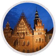 Wroclaw Old Town Hall At Night Round Beach Towel
